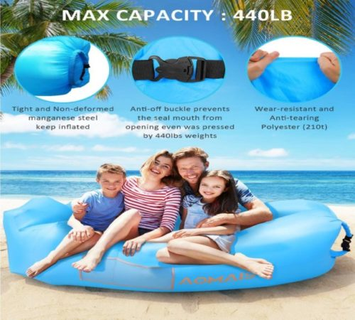 8.Inflatable Lounger Air Sofa Portable Waterproof Anti-Air Leaking Inflatable Pouch Couch with Pillow and Carrying Bag for Outdoor Camping, Picnics, Pool