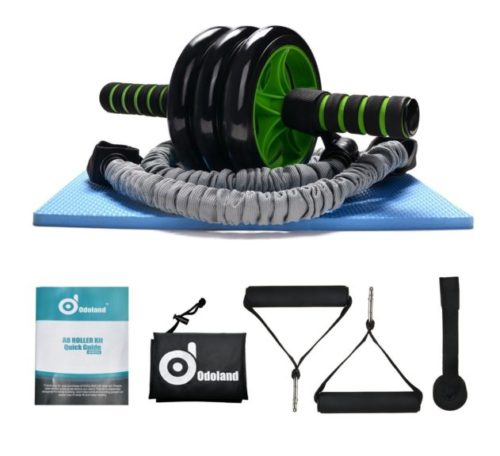 7.Odoland 3-In-1 AB Wheel Roller Kit AB Roller Pro with Resistant Band,Knee Pad,Anti-Slip Handles,Storage Bag and Training Program - Perfect Abdominal Core