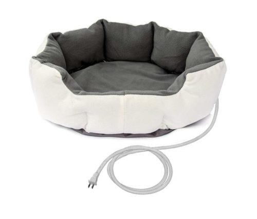 9.ALEKO PHBED17S Electric Thermo-Pad Heated Pet Bed for Dogs and Cats 19 x 19 x 7 Inches Gray and White