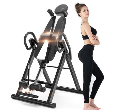 9.Bigzzia Gravity Heavy Duty Inversion Table with Headrest & Adjustable Protective Belt Back Stretcher Machine for Pain Relief Therapy (Black)