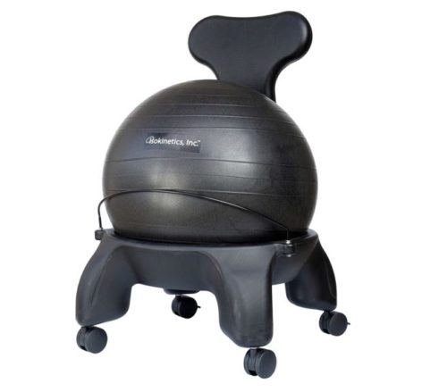 9.Isokinetics Inc. Tall Boy Balance Exercise Ball Chair - Black 52cm Ball is 2 Taller than Standard Height - Includes Office Size 60mm (2.5) Wheels