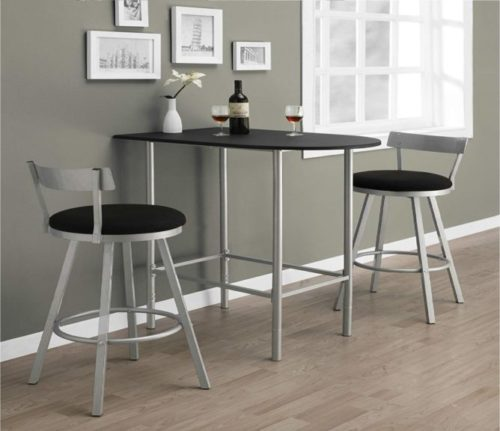9.Monarch Specialties Space Saver Bar Table, 24-Inch by 36-Inch, Black Silver Metal