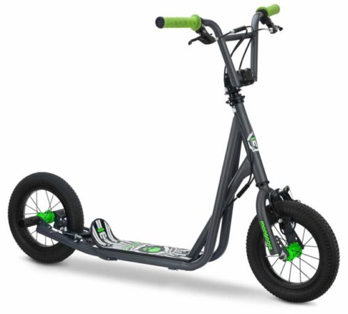 9.Mongoose Expo Scooter, Featuring Front and Rear Caliper Brakes and Rear Axle Pegs with 12-Inch Inflatable Wheels, Green Grey