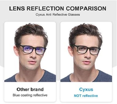 1.Cyxus Blue Light Blocking Glasses Square Computer Eyewear Clear Lens Eyeglasses Frame