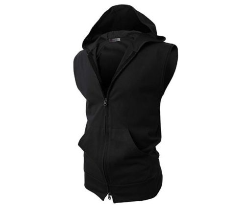 1.H2H Mens Casual Slim Fit Sleeveless Lightweight Zip-up Hooded Vest with Zipper Trim