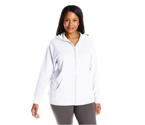 1.Just My Size Women's Plus-Size Full Zip Fleece Hoodie