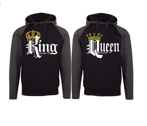 10.SR Couple Matching King Queen Crown Two Tone Raglan Hoodie Pullover Hooded Sweatshirt