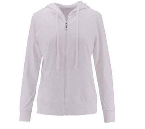 11.ClothingAve. Womens Basic Lightweight Cotton Blend Long Sleeve Zip Up Hoodie Jacket