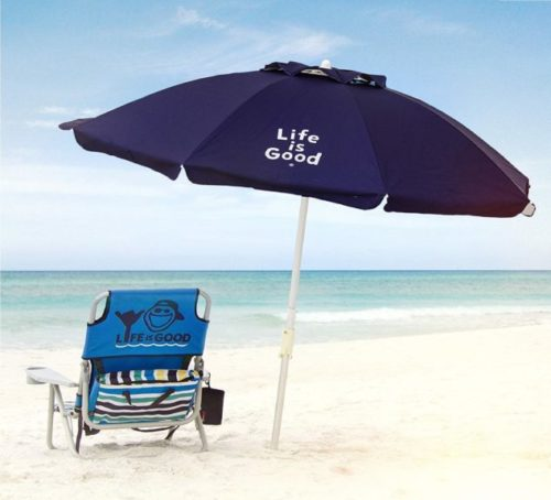 12.Life is Good ALIGUMB-N-1PK Beach Umbrella with Sand Anchor, Towel Hook, and Tilting Pole, Solid Navy