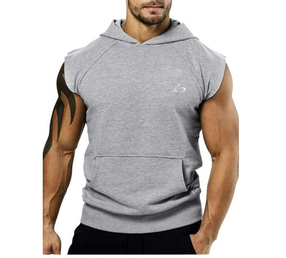 13.PAIZH Men's Bodybuilding Sleveless Hoodies Gym Workout Hooded Tank Tops