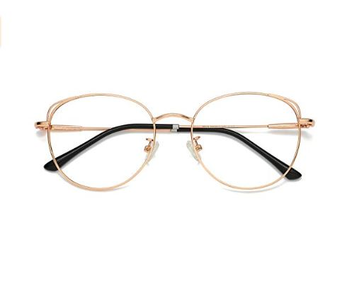 13.SOJOS Cat Eye Blue Light Blocking Glasses Hipster Metal Frame Women Eyeglasses She Young
