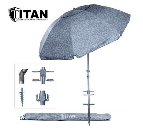 13.Titan 8 Foot Beach Umbrella with Sand Anchor Fully Telescoping UPF 50 Plus Rating Tilting 2 Piece Design Includes Cup Holders, 4 Prong Hanging Hook,...