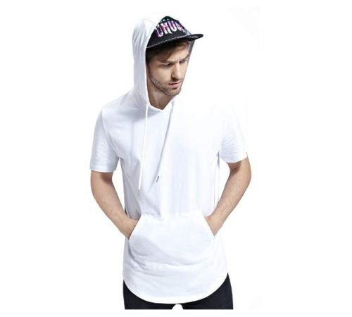 2.Bertte Mens Hipster Hip Hop Elong Longline Hoodie Side Zipper ShortLong Sleeve T-Shirt
