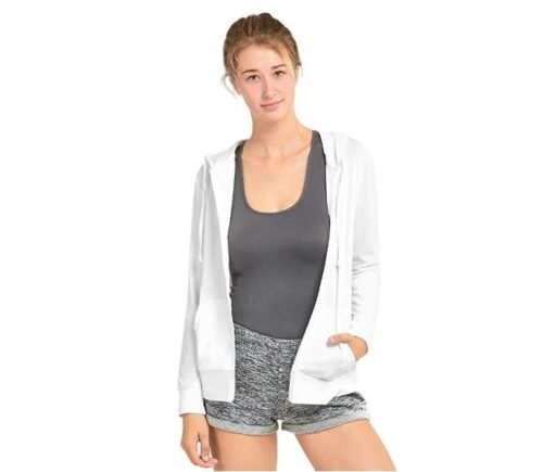 2.Sofra Women's Thin Cotton Zip Up Hoodie Jacket
