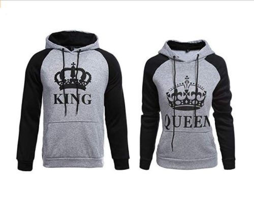 2.YJQ King and Queen Matching Couple Hoodies Pullover Hoodie Sweatshirts