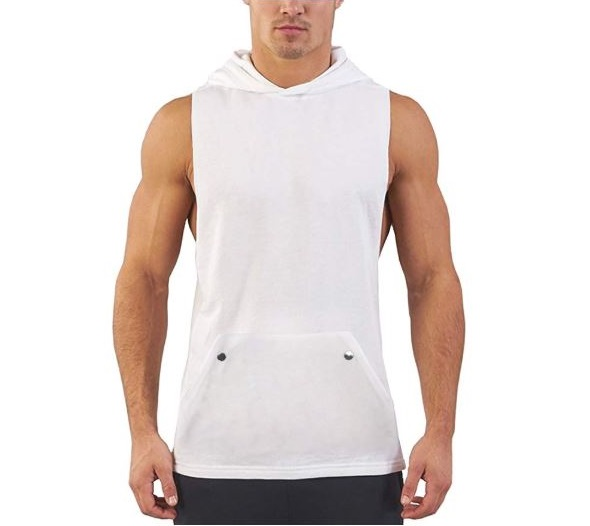 4.Daupanzees Mens Workout Hooded Tank Tops Sleeveless Gym Hoodies with Kanga Pocket Cool and Muscle Cut