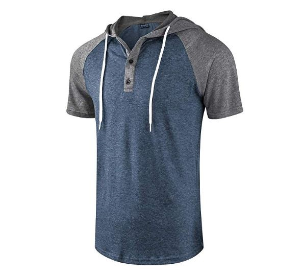 4.Moomphya Men's Jacquard Knitted Casual Short Sleeve Raglan Henley Jersey Hoodie T Shirt