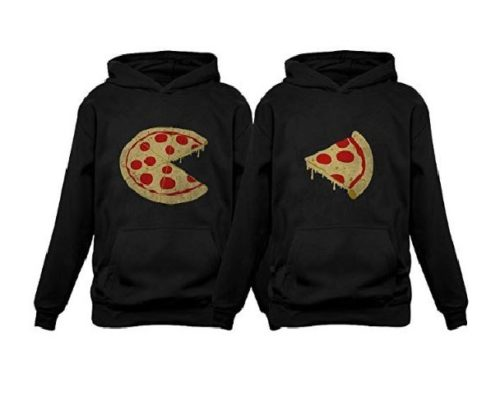 4.Tstars The Missing Piece Pizza & Slice - His and Her Hoodies - Matching Couple Hoodies