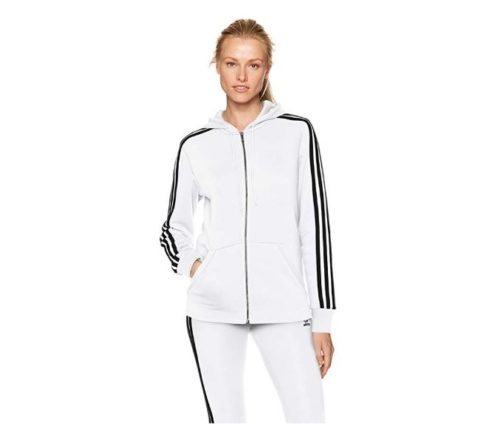 4.adidas Women's Essentials Cotton Fleece 3-Stripe Full Zip Hoodie