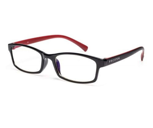 5.PROSPEK - Computer Glasses - Blue Light Blocking Glasses - Professional (+0.00 (No Magnification) Regular Size, Red and Black)