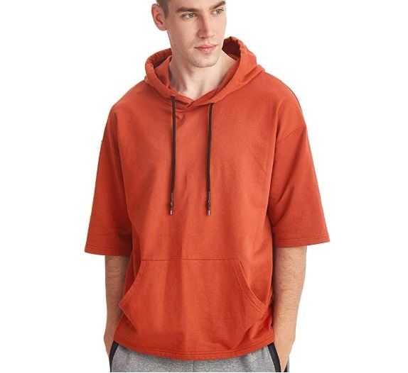 5.Zengjo Men's Short Sleeve Lightweight Sweatshirt Hoodies Solid Fashion Hooded T-Shirt