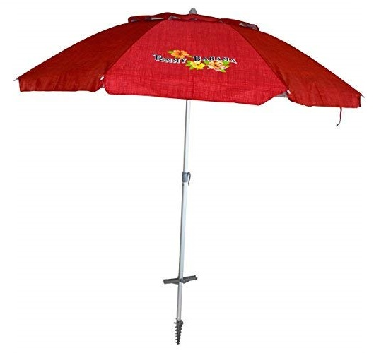 6.Tommy Bahama Sand Anchor 7 feet Beach Umbrella with Tilt and Telescoping Pole (Red Stripe)