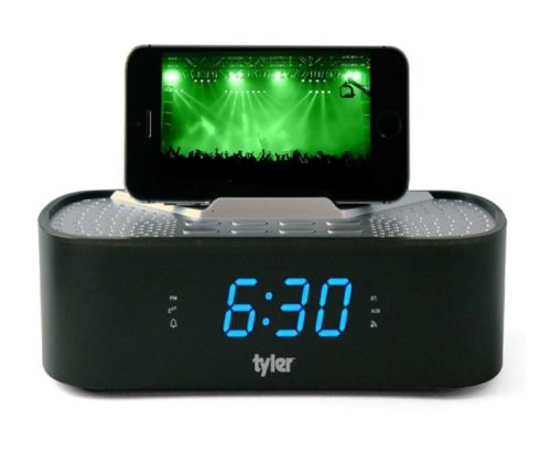 6.Tyler Bluetooth Alarm Clock Radio TAC501-BK with Stereo Speaker, FM Radio, USB Charging, AUX Line-in, Blue LED Display (0.6), and Smart Phone Dock Black