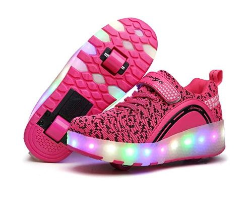 7.Nsasy Roller Shoes Girls Boys Wheel Shoes Kids Roller Skates Shoes LED Light Up Wheel Shoes for Kids for Kids for Children