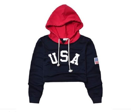 7.Perfashion Women's USA Flag Cropped Hoodie Tops 4th July Crop Sweatshirts