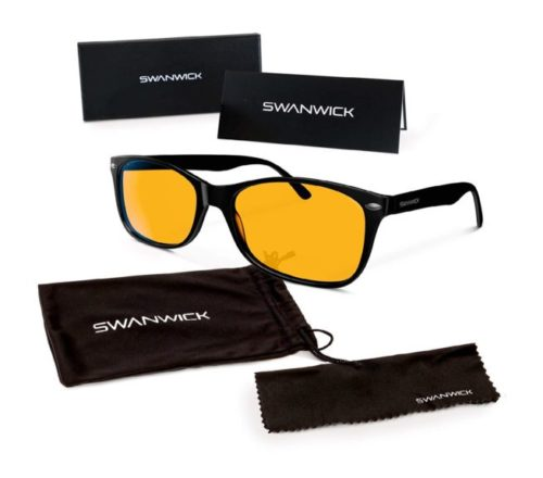 7.Swannies Premium Classic Blue Light Blocking Glasses for Better Sleep and Eye Strain Relief for Computer Games, Reading or TV Screens - (Black) Small