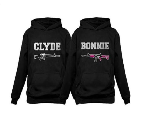 7.Tstars Bonnie & Clyde for Him & Her Matching Couples Hoodies