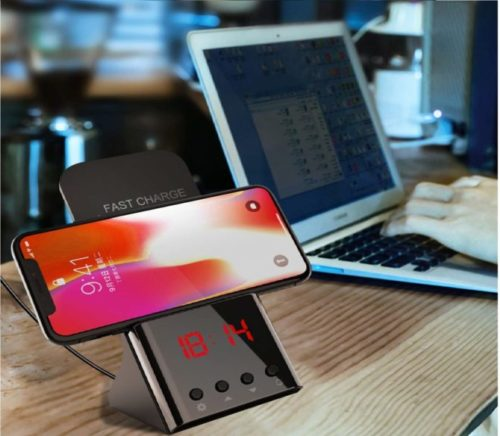 7.Wireless Charger Stand, Digital Alarm Clock 10W Qi Wireless Charging Dock Station Wireless Charger Phone Holder for iPhone Xs Max Xs XR,8 Plus 8 Samsung...