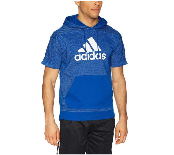 7.adidas Mens Athletics Sport id Short Sleeve Pullover Cotton Hoody