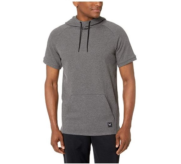 8.Amazon Brand - Peak Velocity Men's French Terry Short Sleeve Athletic-fit Hoodie