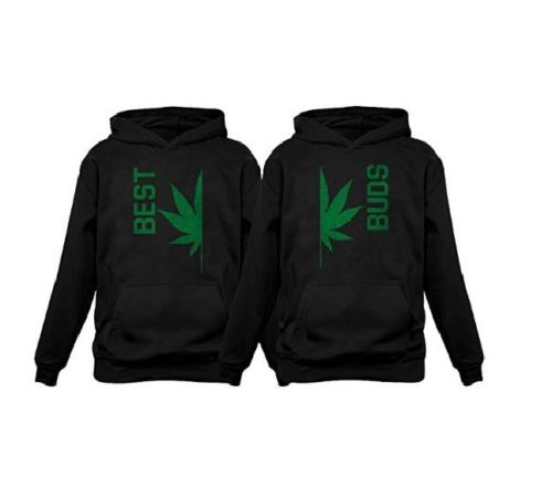 8.Best Buds Gift for Weed Lovers - Funny Cannabis Leaf Matching Hoodies Set