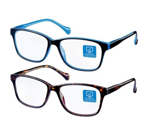 8.Blue Light Blocking Computer Glasses 2 Pack Anti Eye Eyestrain Unisex(Men Women) Glasses with Spring Hinges UV Protection