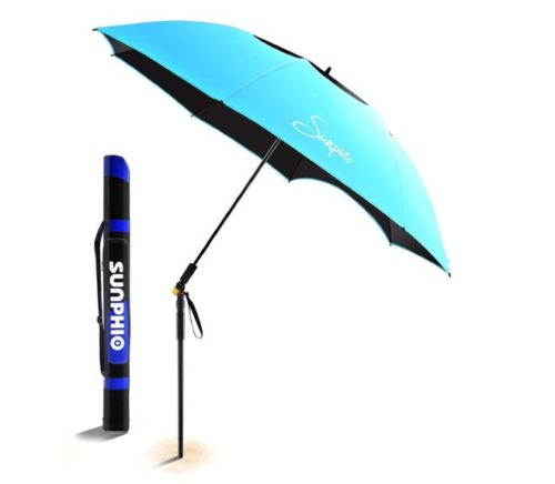 8.Sunphio Large Windproof Beach Umbrella, Sturdy and UV Protection, Portable Sun Shade Best for Camping, Picnic, Sand, Patio and More, 2 Metal Sand Anchor, 1...