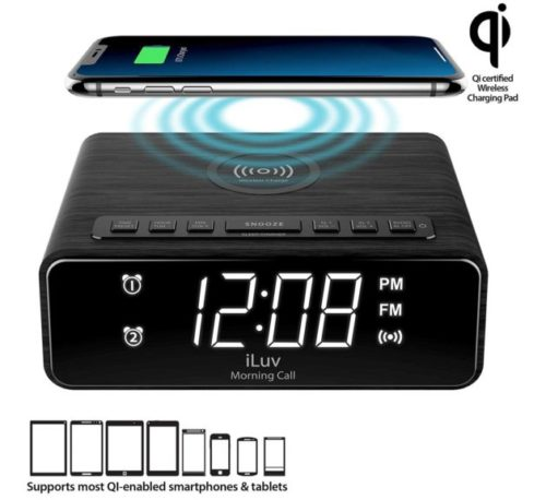 8.iLuv Wireless Charging Alarm Clock Radio with LED White Display, Dual Alarm, Super Loud Alarm Clock -Compatible with iPhone Xs Max, XR, X Xs, Galaxy...