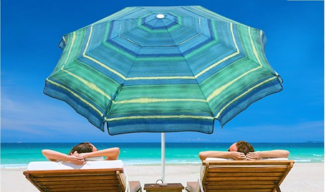 9.Abba Patio 7 Ft Adjustable Beach Umbrella with Sand Anchor, Easy Push Button Tilt and, Carry Bag, 7', Striped Color