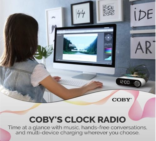 9.COBY Digital LED Alarm Clock Built In 10W HD Bluetooth Speakers FM Radio QI Certified Fast Wireless Charger for iPhone, Samsung and More,USB port Battery...