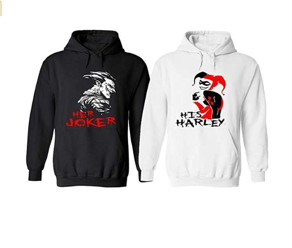 9.Live Free Her Joker and His Harley Couple Hoodies - Matching Couples Outfits