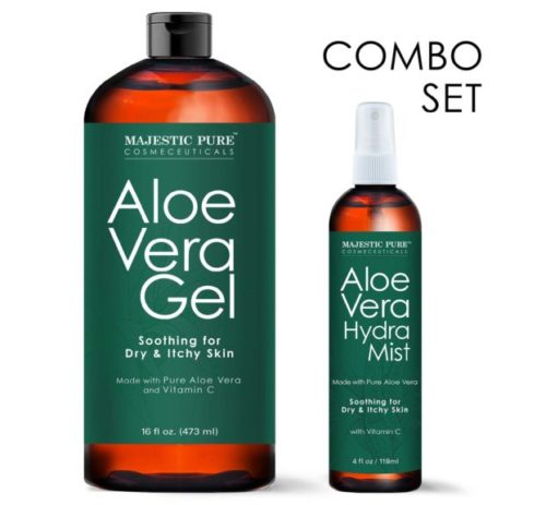 9.MAJESTIC PURE Aloe Vera Gel and Mist Super Combo - 16 oz Gel and 4 oz Hydra Spray - 100 Percent Pure and Natural Cold Pressed Aloe Vera for Hair Growth, Face, Body and Skin