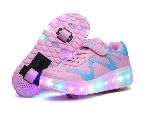 9.Nsasy Roller Skates Shoes Girls Boys Roller Shoes Kids Wheel Shoes Roller Sneakers Shoes with Wheels for Kids