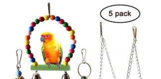1.QUMY 5pcs Bird Parrot Toys Hanging Bell Pet Bird Cage Hammock Swing Toy Wooden Hanging Perch Toy for Small Parakeets Cockatiels, Conures
