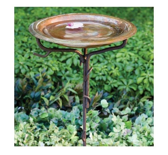 10.Ancient Graffiti Solid Copper Birdbath with Iron Twig Stake