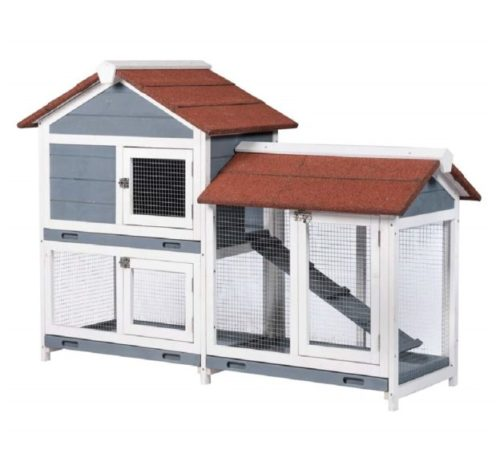 10.Good Life Two Floors 62 Wooden Outdoor Indoor Roof Waterproof Bunny Hutch Rabbit Cage Guinea Pig Coop PET House for Small to Medium