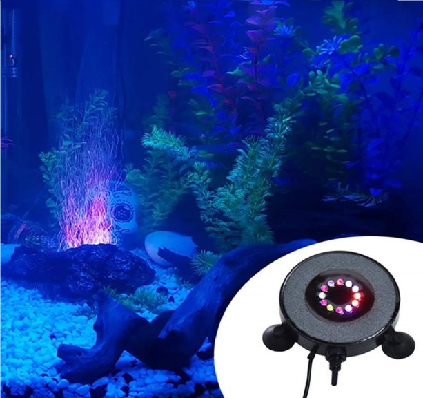 10.OIIKURY Aquarium Bubble Light Air Stones Disk for Fish Tank, Bubbler Light with 24 Color Changing LED Light Air Bubble Lamp Decoration