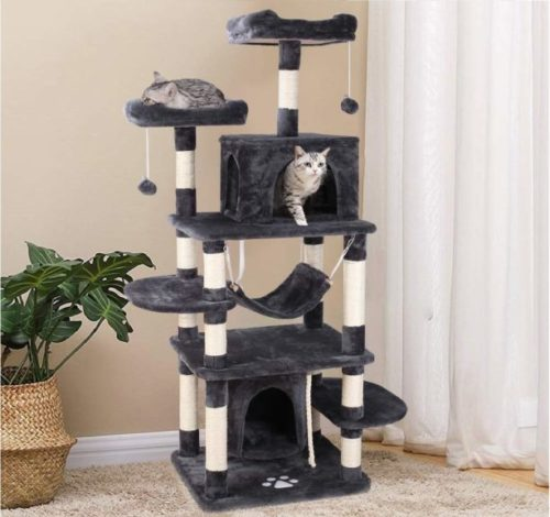 10.POTBY 67 Multi-Level Cat Tree Play House Climber Activity Centre Tower Stand Furniture, with Scratching Posts, Hammock, Dangling Ball and Condo, Anti-toppling Devices
