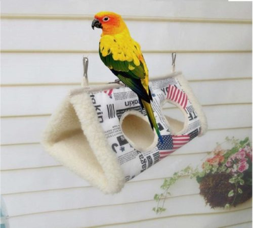 11.Auoker Bird Hut, Super Warm Bird Hammock Nest with 2 Windows, Washable Winter Bird Swing House for Parrot Wren Nuthatch Parakeet