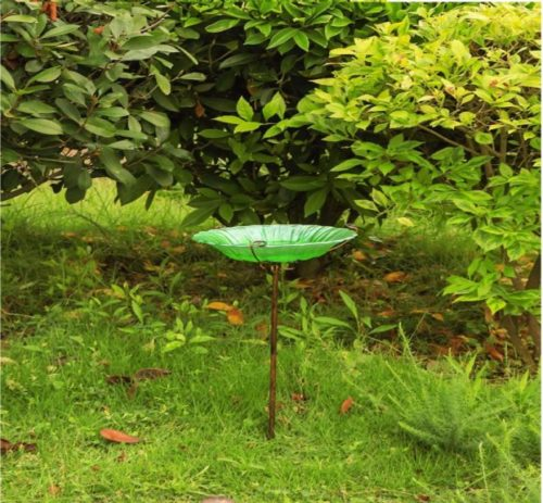 11.MUMTOP 26 Glass Birdbath Birdfeeder with Metal Stake Garden Outdoor Green